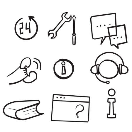 hand drawn doodle Customer service icons set isolated background Ilustração
