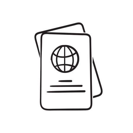 hand drawn doodle passport icon illustration isolated