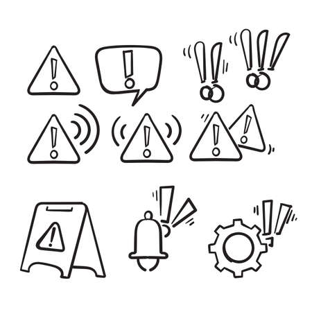 hand drawn Simple Set of Warnings Related Vector Line Icons in doodle style vector isolated