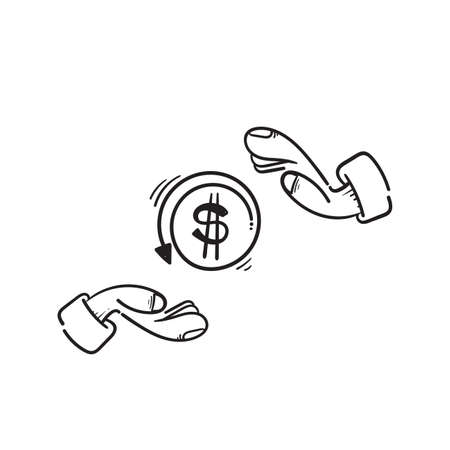 hand drawn hand and dollar sign symbol for cashback icon, return money, cash back rebate in doodle Ilustração