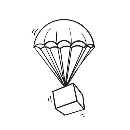 hand drawn doodle parachute package illustration icon isolated on white Ilustração