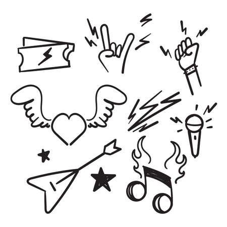 hand drawn doodle Rock and Roll related icon set illustration isolated Ilustração