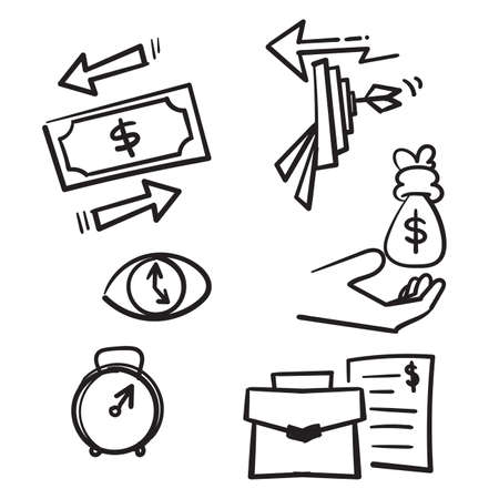 hand drawn Vector set of linear icons related to finance management, trade service and investment strategy in doodle