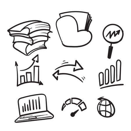 hand drawn Simple Set of Data Analysis Related Vector Line Icons in doodle