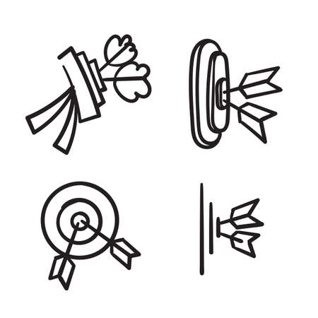 hand drawn doodle arrow and dartboard collection icon isolated