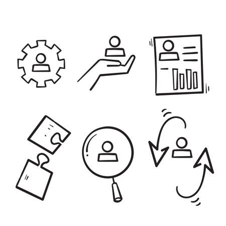 hand drawn Simple Set of Business Management Related Vector Line Icons in doodle style isolated Ilustração