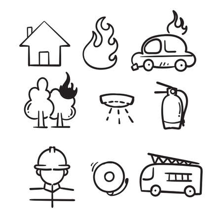 hand drawn Fire and firefighting related icon set in doodle style