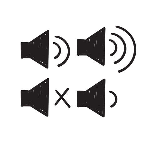 hand drawn speaker icon symbol for increases and reduces the sound doodle style Ilustração
