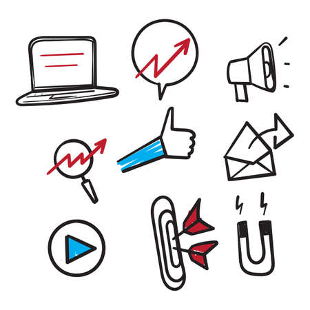 hand drawn set of marketing icons, seo, analytics, ads, business icon illustration doodle