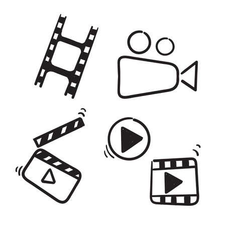 hand drawn doodle cinema icon illustration set isolated