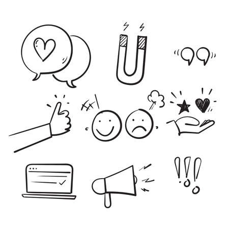 hand drawn doodle set of feedback icons, research, comment, review, customer, survey, social media isolated background
