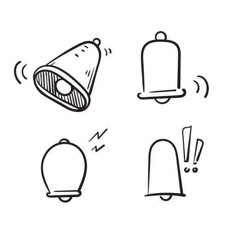 hand drawn doodle Simple Set of Notification Related Vector Line Icons. isolated