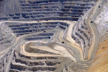 mijnbouw: Close-up van Bingham Kennecott koper mijn open pit opgraving