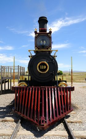 wood railway: Historic Steam Locomotive at Golden Spike National Historic Monument