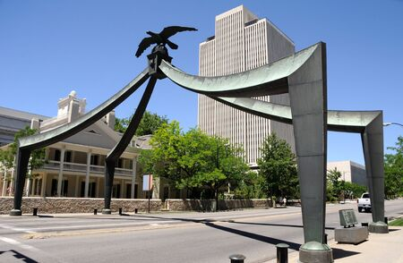 salt lake city: Eagle Gate Historic Momon Monument in Salt Lake City, Utah Stock Photo