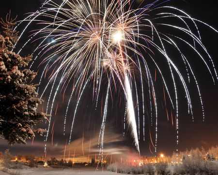 Arctic Solstice Fireworks Stock Photo - 7626348