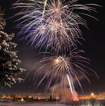 aspen tree: Arctic Solstice Fireworks Stock Photo