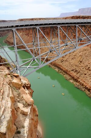 Navajo Bridge Crossing Marble Canyon with Rafters Below Stock Photo - 7676264
