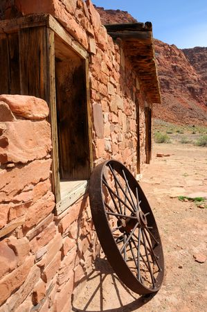 pioneers: Lees Ferry Historic Building - Glen Canyon National Recreation Area  Stock Photo
