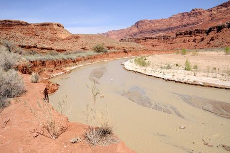 paria canyon: Paria Canyon River Flowing toward Lonely Dell Ranch
