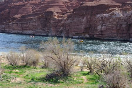 rafters: Rafters Floating Colorado River near Lees Ferry, entrance to Grand Canyon