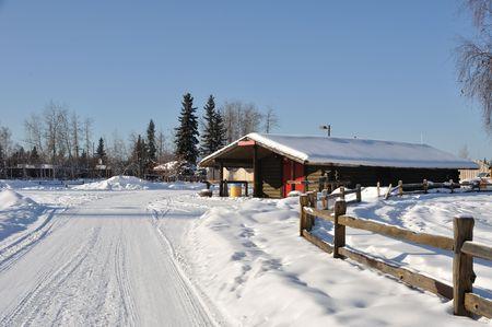 alaska scenic: Historic Cabin in Fairbanks, Alaska  Stock Photo