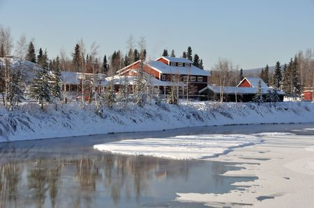 Historic Pioneer Park by the River in Winter  photo