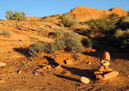 Rock Cairn on Trail to Corona Arch - Utah photo