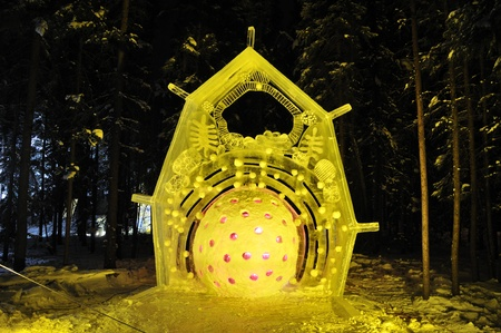 organelles: Fairbanks, Alaska,February 27,2010:  Cell R Ice  Sculpture, 2010 World Ice Art Championships Editorial