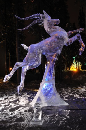 Fairbanks, Alaska, February 27, 2010: Chasing the Wind Ice Sculpture, 2010 World Ice Art Championships Sajtókép