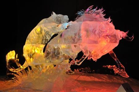 Fairbanks,Alaska,March 9, 2010: Attacking Claws Ice Sculpture, 2010 World Ice Art Championships