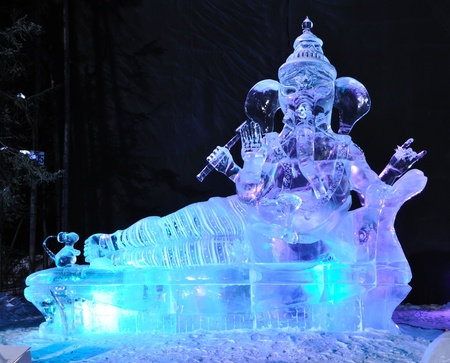 Fairbanks, Alaska, March, 9, 2010: Theres No Place Like Om Ice Sculpture, 2010 World Ice Art Championships