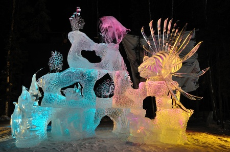 Fairbanks, Alaska, March, 9, 2010: Saltwater Safari Ice Sculpture, 2010 World Ice Art Championships Sajtókép