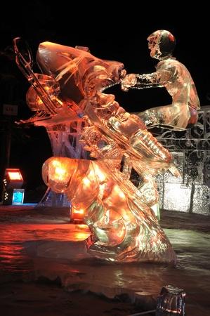 Fairbanks, Alaska, March 9, 2010: Age of the Mechanical Musher Ice Sculpture, 2010 World Ice Art Championships
