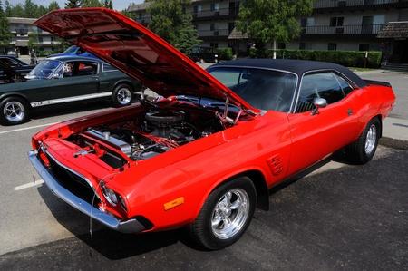 dodge: Fairbanks, Alaska, June 19,2010: Midnight Sun Cruise-In Auto Show, 1973 Dodge Challenger