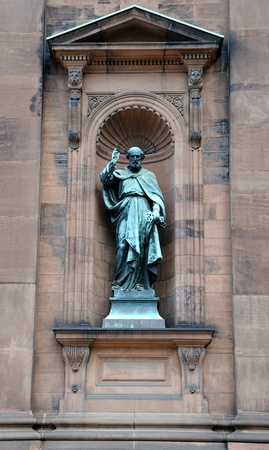 tarnish: Saint Paul Statue outside historic Saint Peter and Paul Basilica in Philadelphia, Pennsylvania Stock Photo
