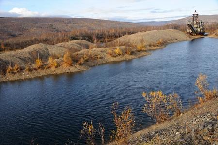 tailings: Historic Alaska Gold Dredge in Fall