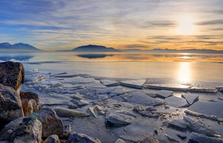 hdr: Sunset on Utah Lake
