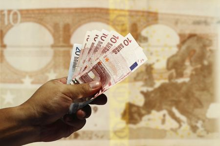 Handing out Euro photo