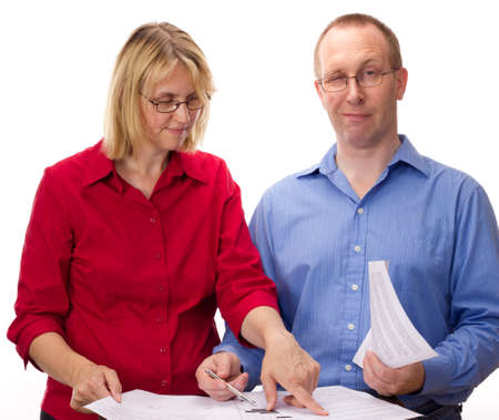 Two business people working photo