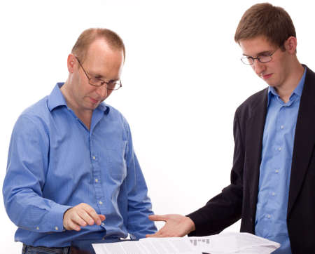 abandoning: Two business people working Stock Photo