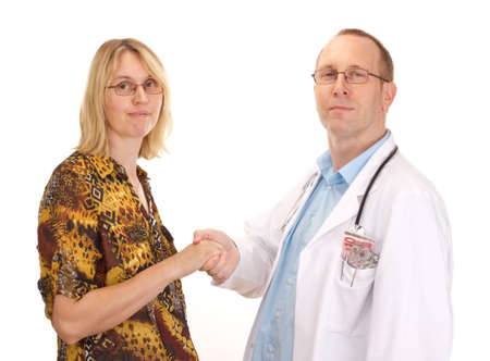 Medical doctor and patient handshaking photo
