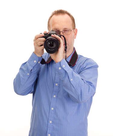 reflex: Fotografo con fotocamera reflex