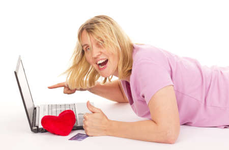 Attractive woman dating over the internet Stock Photo