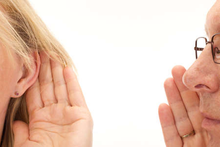 the deaf: Man saying something to woman