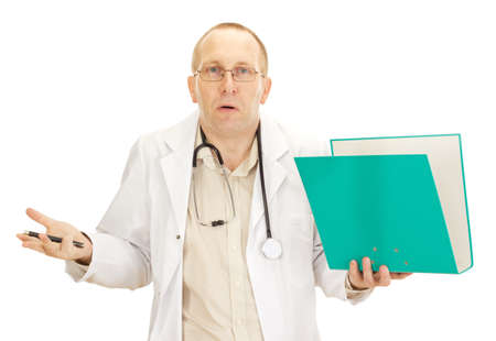 Medical doctor with documents about a patient