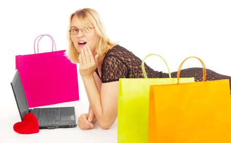 Attractive woman shopping over the internet Stock Photo - 15230858