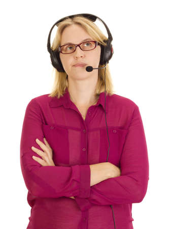 handsfree telephones: Beautiful woman with head set Stock Photo