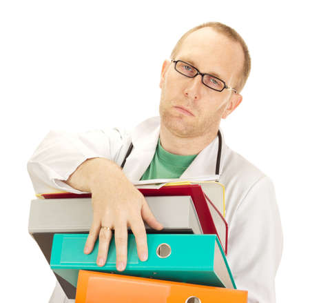 Medical doctor with a lot of work photo
