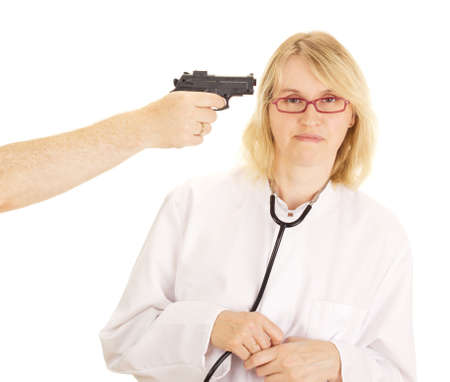 A person hold the doctor at gunpoint photo